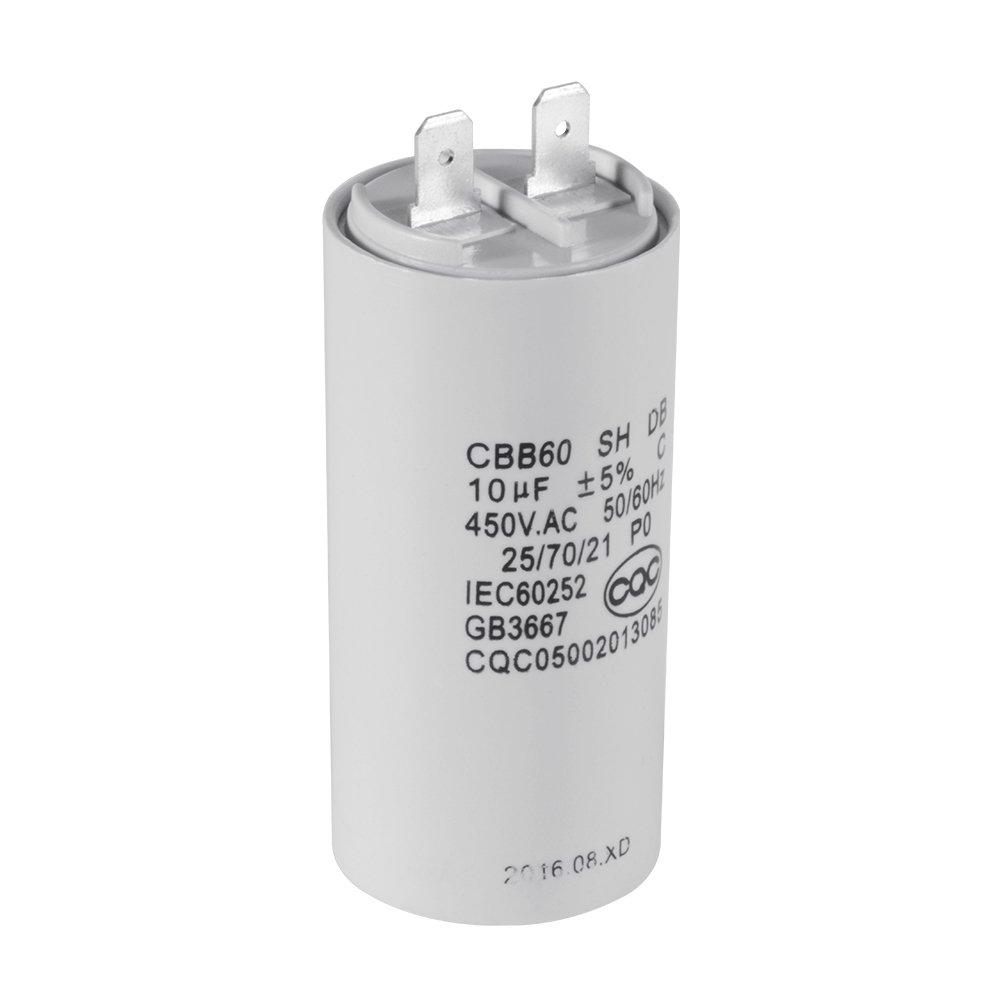 Cylinder Shaped CBB60 10uF 450V AC Motor Run Capacitor for Washing Machine HS838