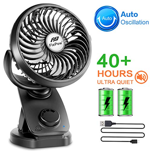 (Battery Operated Clip on Stroller Fan - 40 Hours Portable Mini Desk Fan with Rechargeable 4400mA Battery, USB Powered Auto Oscillating Fan for Baby Stroller Office Outdoor Travel (2019 Upgrade))