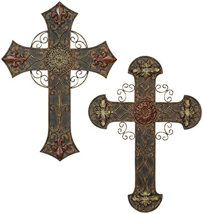 Deco 79 56543, Set of 2 Assorted Metal Wall Crosses, 22 by 16