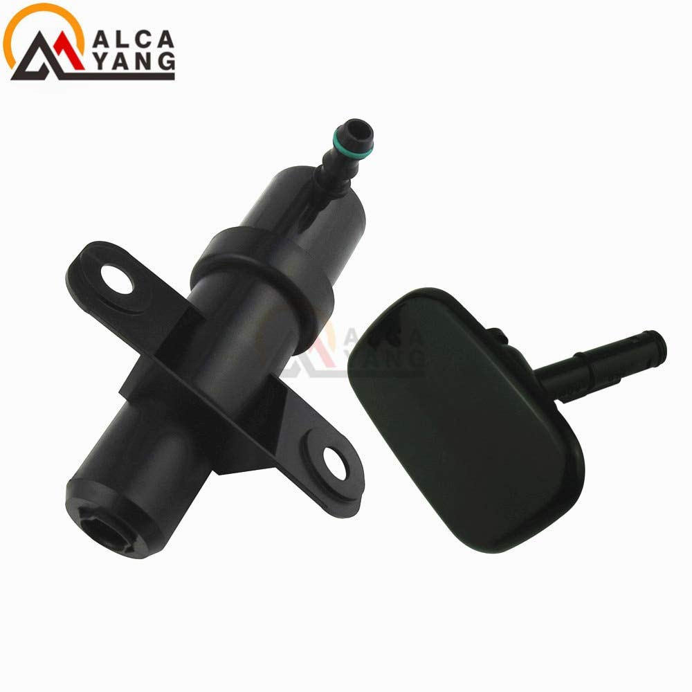 Mathenia Car Parts, Front Headlight Washer Lift Cylinder Spray Nozzle Jet And Cover Cap For Hyundai Santa Fe MKII 2009-2012 - (Color: L-Nozzle Cover Cap) by Mathenia