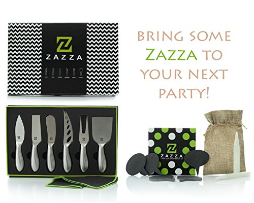 Knife Cheese Set (Zazza Cheese Knife Set with Slate Cheese Markers, Chalk and Polishing Cloth)