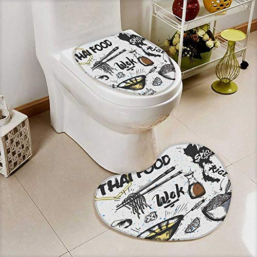 Non-Slip Bathroom Mats Set set of asian dishes thai food noodles and rice Customized Heart shaped foot pad by also easy