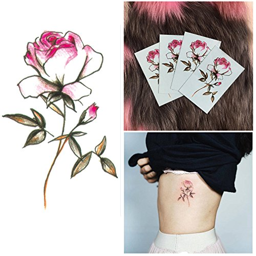 DaLin 4 Sheets Sexy Floral Temporary Tattoos for Women Flowers Collection (Pink Rose) -
