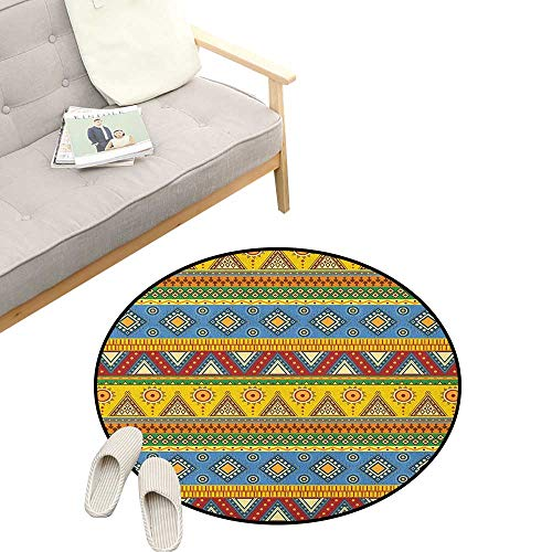 (Aztec Round Carpet ,Traditional Classic Tribal Style Folk Motif with Sun Figure Ancient Mexican Culture Image, Kids Room Bedroom Bedside Rug 23