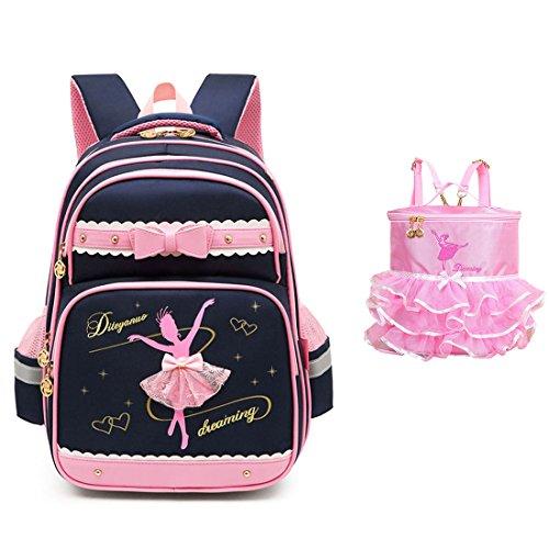 Debbieicy Cute Ballet Dance Girl Waterproof Backpack Princess School Bag Kids School Bookbag for Girls (Black2, -