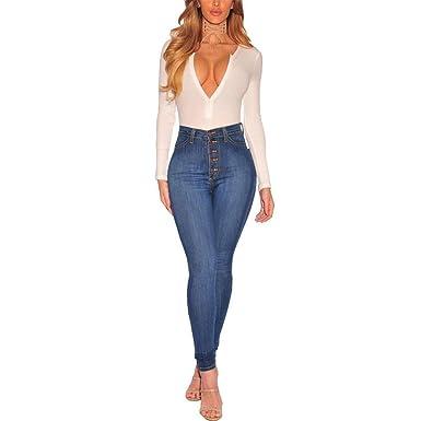 19446131bf02 Ansenesna Women Popular Designed Jeans Stretch Hose Trousers Leggings Skinny  Slim High Waist Fitness Pants  Amazon.co.uk  Clothing