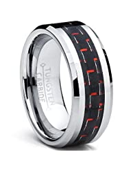 Metal Masters Co.® 8MM Men's Tungsten Carbide Ring W/ BLACK & RED Carbon Fiber Inlay Sizes 6 to 15