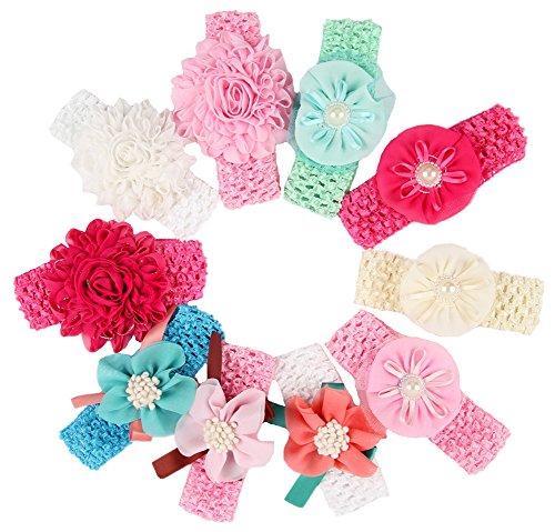 Serre-têtes différents styles de Qandsweet Baby Girl Flower (10 Pack)