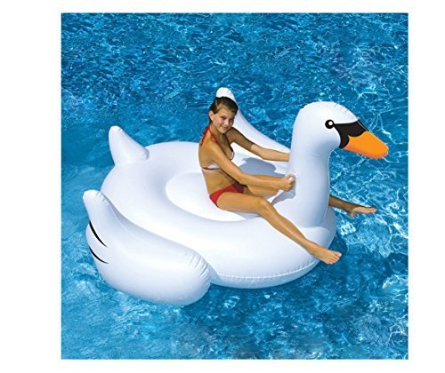 Swimline Swimming Pool Kids Giant Rideable Swan Inflatable Float Toy Raft 75 by Swimline