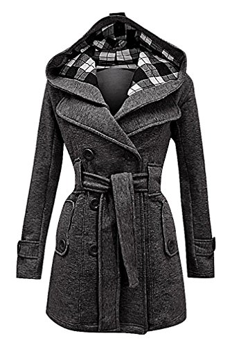 Maze, Women's Double Breasted Notch Collar Warm Belted Plaid Hood Trench Coat, DarkGrey XL (Double Breasted Belted Plaid Coat)