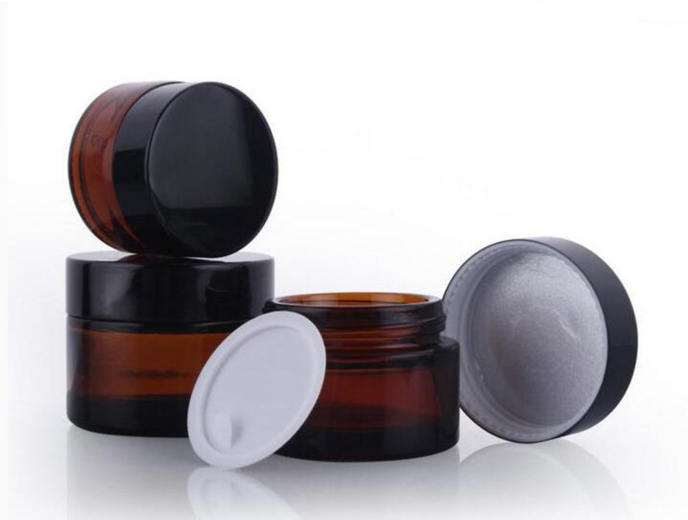 2PCS 20ML/20G Brown Glass Refillable Make up Jars with Liners and Screw Black Cap Empty Face Cream Lip Balm Storage Container Pot Bottle Jar for Beauty Essential Oils Cosmetic Cream Lotion (20ml) erioctry