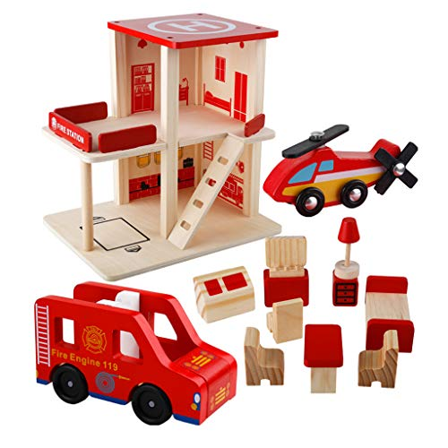 (DYNWAVE Deluxe Fire Station Playset, Wooden Toy Building Set)