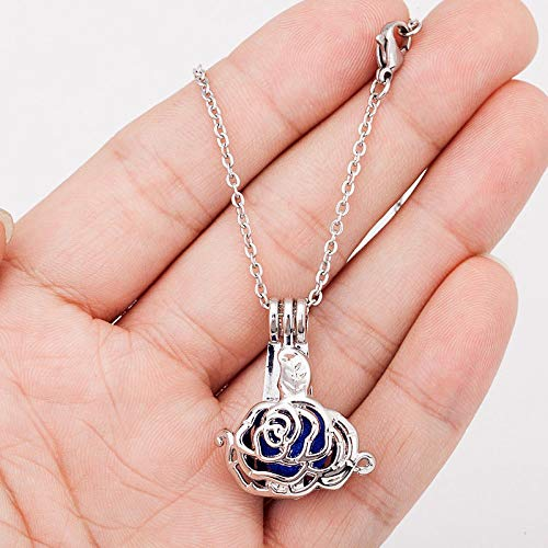 (Silver Plated 3D Rose Flower Pearl Beads Cage Open Locket Pendant Necklace Gifts)