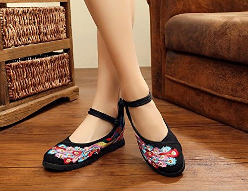 Lazutom Women Lady Chinese Style Canvas Embroidered Casual Comfortable Walking Shoes Black lhCu7