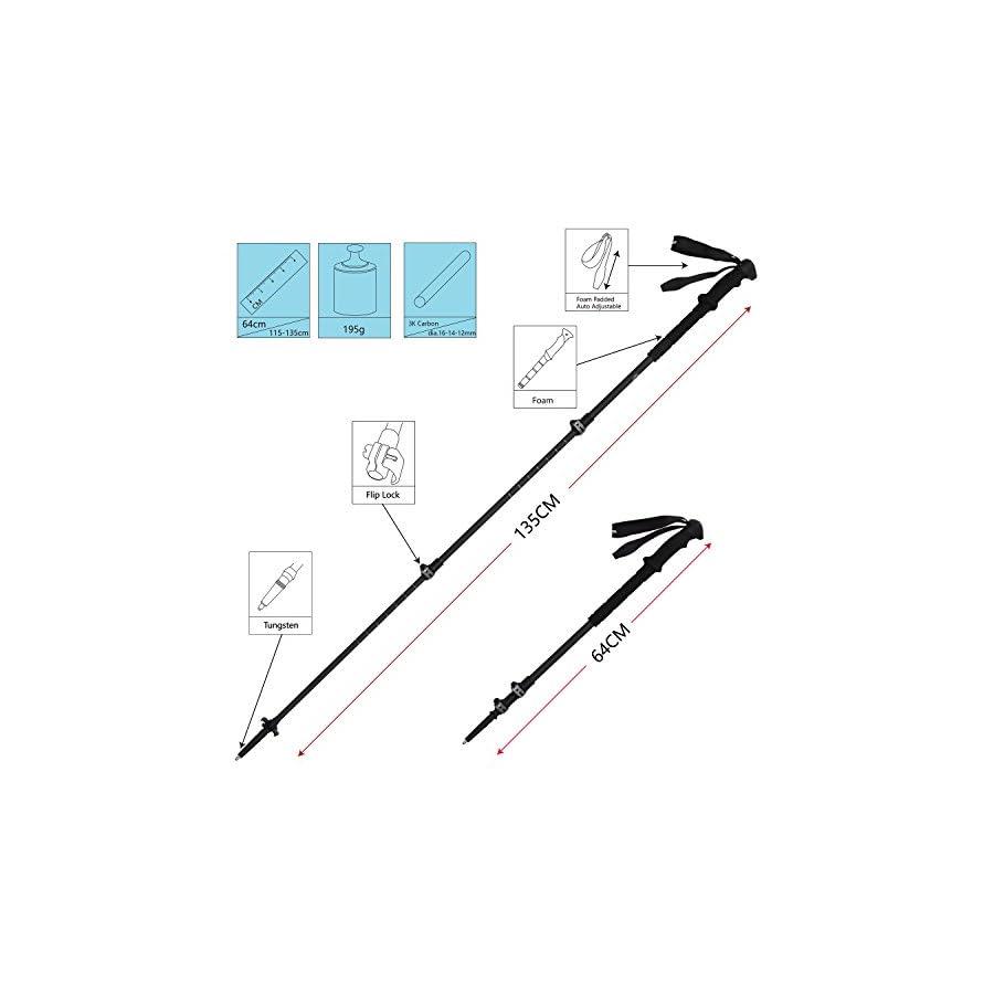 G2 GO2GETHER Carbon Lite Trekking Poles Telescopic 100% 3K Carbon Fiber/Long High Density Foam Handle/Quick Flip Lock (Pack of 2 Poles)