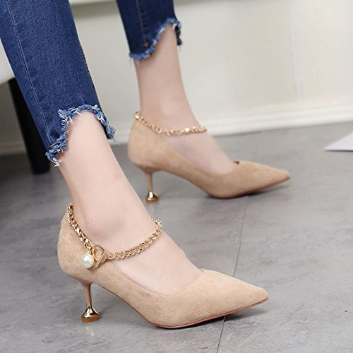 Leisure Work Metal Fine Women'S 6Cm Elegant Sharp Chain Heels MDRW Head Shoe Shoes Beige Single Shallow Drill Lady Spring Water Heel Sexy High 38 awfWxwtn7