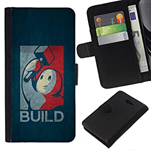 All Phone Most Case / Oferta Especial Cáscara Funda de cuero Monedero Cubierta de proteccion Caso / Wallet Case for Sony Xperia M2 // Build - Retro Poster