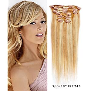 "Mike & Mary Clip in Hair Extensions 18"" Straight Human Hair Extensions 7pcs Set 70 grams with 16 Clips 100% Remy Human Hair (Strawberry Blonde/Bleached Blonde #27/613)"