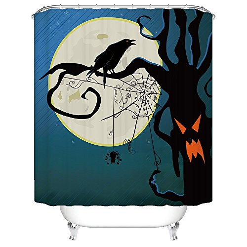 Halloween Night Theme Crows in the Trees Shower Curtain Polyester Fabric Mildew Proof Waterproof Cloth Shower Room Decor Shower (Toddler Crow Costume)