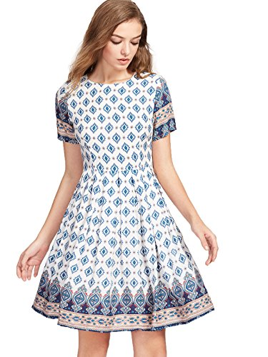 Floerns Women's Ornate Print Fit And Flare Dress Medium Multicolor-White