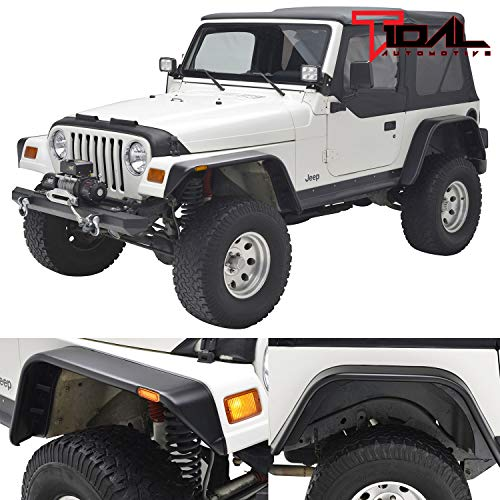 Tidal Front + Rear Fender Flares with Side LED Lights Flat Style for 97-06 Jeep Wrangler TJ ()