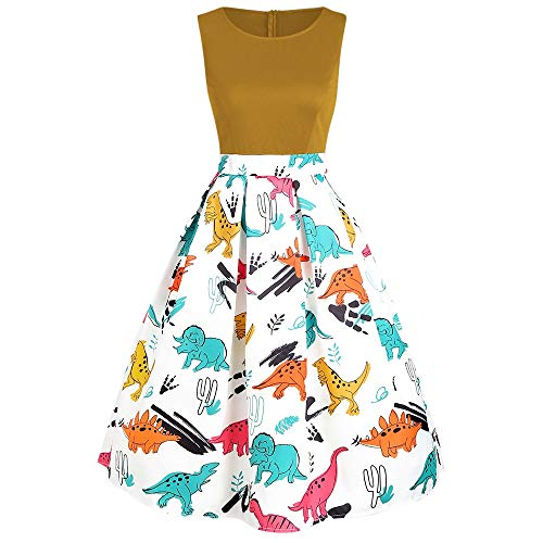 KCatsy Dinosaur Print Sleeveless A Line Dress -