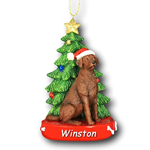 Personalized Brown Labrador Retriever Dog With Glitter Santa Hat And Christmas Tree Christmas Ornament - 4.25 Inches Picture