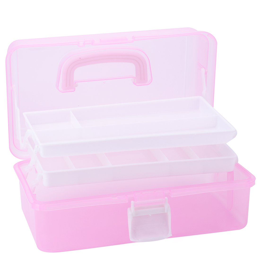 Tosnail Multipurpose Plastic Art Craft Supply Storage Case Storage Container with Two Trays - Pink