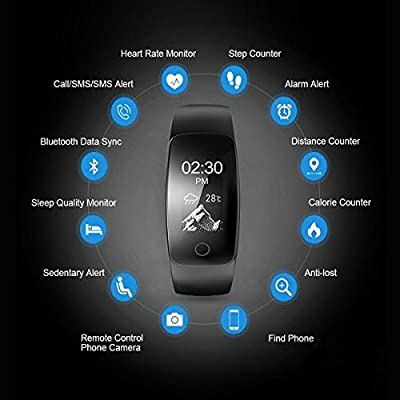 Smart Bracelet, RL-Shop Fitness Activity Tracker Waterproof OLED Screen Bluetooth Pedometer Smartwatch Wireless Wristband with Weather Forecast / 14 Training Modes for Android and iOS Smart Phones