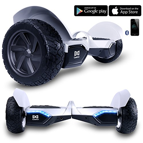 Cool&Fun W8S Two Wheel Self Balance Scooter Off-Road Hoverboard Safety Certified UL 2272 Bluetooth Speakers 8.5 Inch All Terrain Road Condition (Silver)