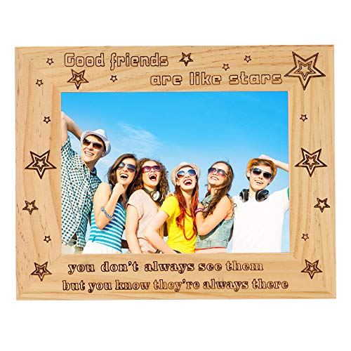 FAYERXL Engraved Wood Picture Frame Good Friend Photo Frame Gift Ideas to My Grandpa Friend Husband Wife Dad Son (5x7 Inch Good Friends are Like Stars) ()