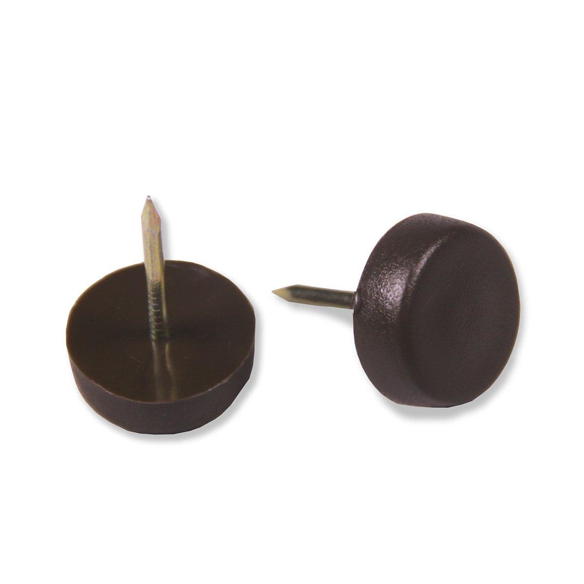 Brinox B77865M - Deslizador plá stico con clavo (Diá metro 22 mm) color marró n
