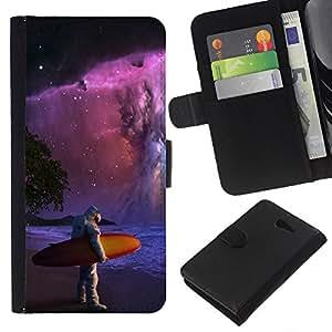 LECELL--Cuero de la tarjeta la carpeta del tirón Smartphone Slots Protección Holder For Sony Xperia M2 -- Espacio Astronauta Surf --
