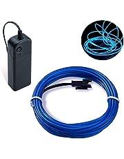 Covvy Cable LED Tira de Luces de Neon Flexible de 5 M Alimentado 3 Modos de Funcionamiento, Perfecto para Decoración de Coche, Fiestas, Disfraz de Carnaval