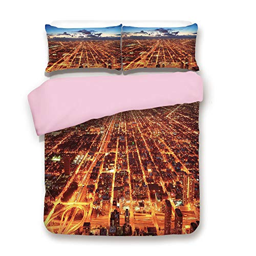 Pink Duvet Cover Set,Queen Size,Chicago Downtown Skyline Aerial Panorama View at Dusk with Skyscrapers,Decorative 3 Piece Bedding Set with 2 Pillow Sham,Best Gift For Girls Women,Orange Dark Orange Bl -