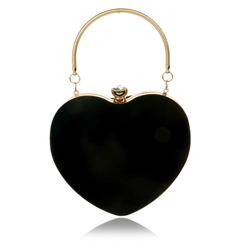 DASEXY Stilvolle Einfachheit herzförmige Handtasche Dame Mode Kosmetiktasche Abendtasche Clutch Bag Damentasche, Handtasche (Farbe   Schwarz) B07P8YH582 Clutches Tadellos