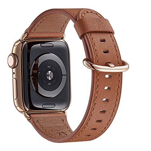 WFEAGL Compatible iWatch Band 44mm 42mm, Top Grain Leather Band with Gold Adapter (The Same as Series 4 with Gold Stainless Steel Case in Color) for iWatch Series 4/3/2/1 (Brown Band+Gold Adapter)