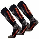 Ski Socks - Best Lightweight Warm Skiing Socks (Orange/Black - 3 Pack, L/XL)