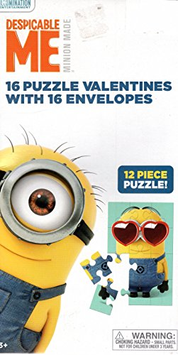 Despicable Me Minion Made 16 Puzzle Valentines With 16 Envelopes (Valentine Day Cards Despicable Me)