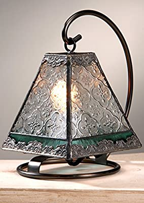 J Devlin Lam 559 Tiffany Mini Lamp Clear Vintage with Sage Green Accent Night Light