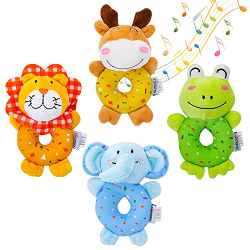 TUMAMA Baby Toys for 3, 6, 9, 12 Months Newborn, Soft Cute Stuffed Animal Rattles for Baby and Infant Developmental Hand Grip , 4 PCS