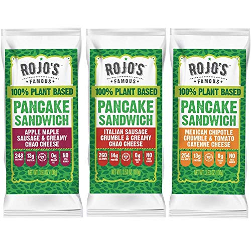 Rojo's Famous 100% Plant-Based Frozen Pancake Breakfast Sandwich (Pack of 12)/Variety Pack, Vegan Sausage and Cheese Wrapped Inside A Freshly Made, Vegan Pancake/A Healthy Breakfast Alternative