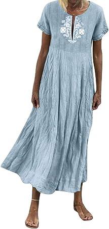 ღLILICATღ Mujer Verano De Playa Vestido Estampado Vestido De Lino Y AlgodóN Mangas Corta Vestidos De Fiesta para Bodas Talla Grandes Vestidos Playa Mujer Vestidos Casuales Vestido Midi Vestido Verano: Amazon.es: Hogar