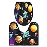 2 Piece Toilet mat Set Solar System of Planets Milk Way Neptune Venus Mercury Sphere Horizontal Illustration 2 Piece Shower Mat Set L17.32 x W15.35-W14.96 x H15.74