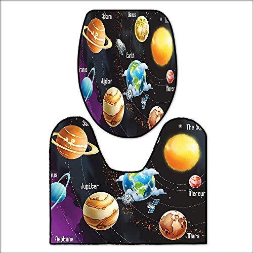 2 Piece Toilet mat Set Solar System of Planets Milk Way Neptune Venus Mercury Sphere Horizontal Illustration 2 Piece Shower Mat Set L17.32 x W15.35-W14.96 x H15.74 by qianhehome