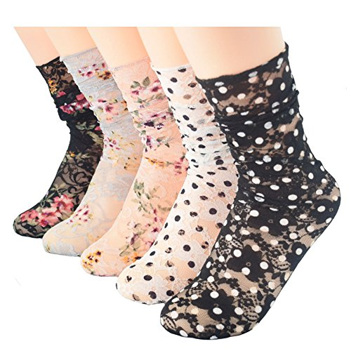 Price comparison product image Ziye Shop 5 Pairs Graceful Floral Dot Hollow Out Summer Fishnet Socks