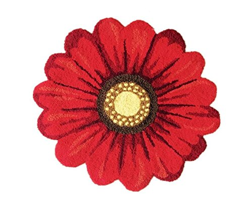 Red Flowers Round Area Rugs-Judy Dre am Handmade Sunflowers Acrylic Rug Bedroom/Living Room/Kitchen/Bathroom/Bedside Floor Mat Non-slip Washable Doormat 25.6