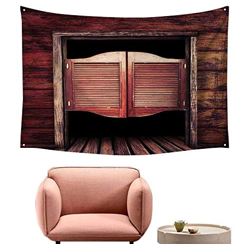 (Agoza Big Tapestry Western Old Rustic Wooden Door and Wild West Cowboy Antique Bar Saloon Door Picture Wall Tapestry for Bedroom 84