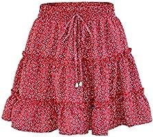 Uaneo Women's High Elastic Waist Floral Print Pleated A Line Boho Beach Mini Skirts