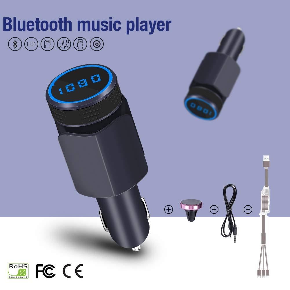 Hand-free Speaker HI-FI Audio Player Support TF//SD AUX Voltmeter/With 3-1 USB Cable&Smartphones Holder(sapphire) QC3.0 Radio Adapter XunDo Wireless 4.1 Bluetooth FM Transmitter Receiver Kit For Car